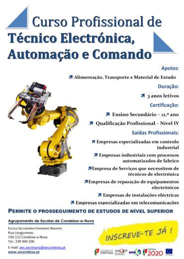 Cartaz Curso de Electrónica, Automação e comando